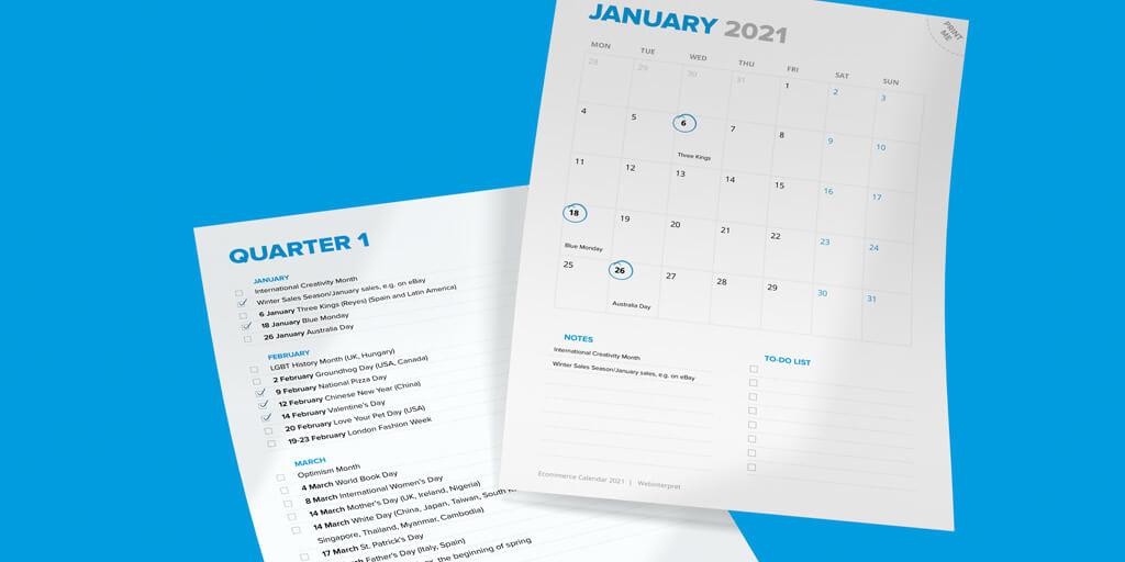 ecommerce calendar 2021 print sheet