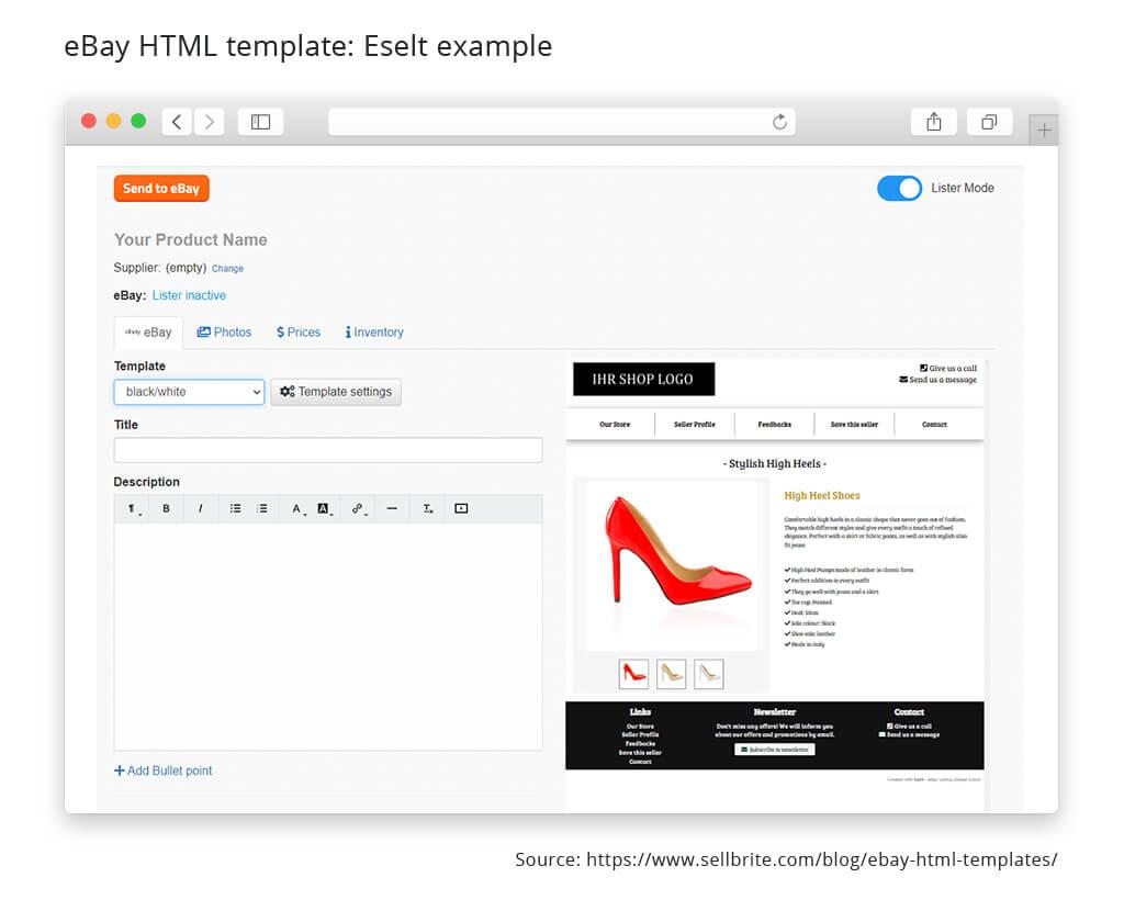 ebay html template eselt