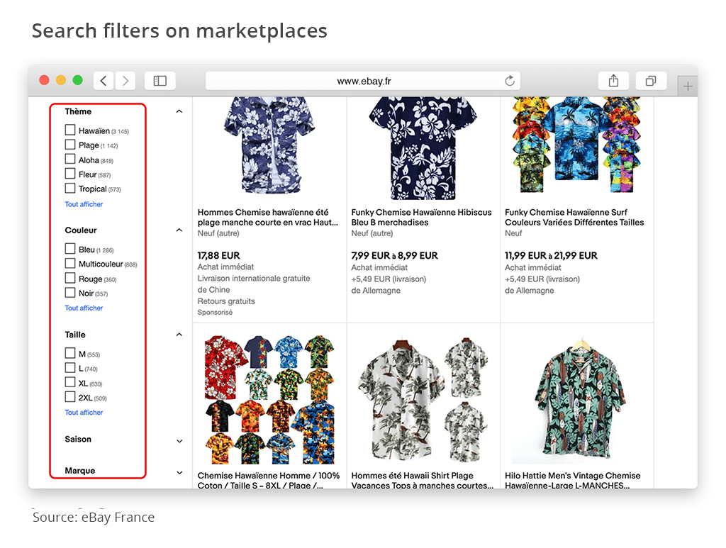 search filters marketplaces ebay france